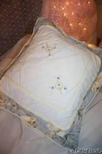 Shabby Cottage Chic ADI Classics Decorative Toss Pillow Blue W/Yellow Roses L2