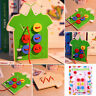 Kids Educational Wooden Toy Fun Sewing Threading Buttons Beads Board Gift Play
