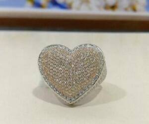 New Special Editions Heart Shaped CZ White Men's Ring For Fully Iced Out Silver