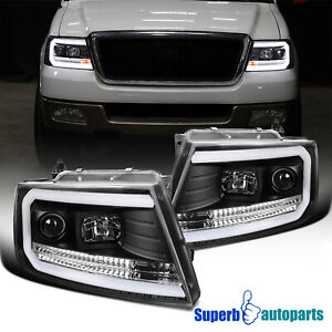 For 2004-2008 Ford F150 06-08 Lincoln Mark LT Black Projector Headlights LED Bar