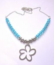 SPARKLY FACETTED AB TURQOUISE BLUE GLASS BEAD NECKLACE WITH DAISY DROP