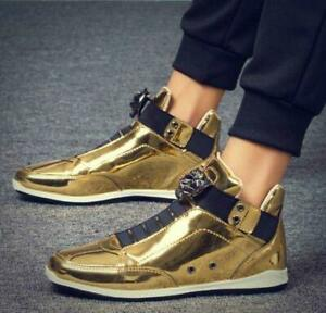 Mens Gold Patent Leather High Top Sports Casual Sneakers Athletic Shoes SIZE