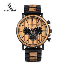 madera y acero inoxidable relojes manos cronómetro Mens Quartz moda complementos