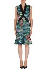 Joseph Ribkoff Teal/Green/Black Striped Peplum Dress US 8 UK 10 181696 New