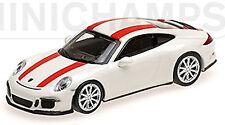 PORSCHE 911R Coupé 2016 BLANCO +red stripe 1:87 MINICHAMPS