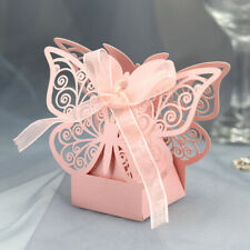 10/50Pcs Laser Cut Hollow Cage Wedding Party Favor Boxes for Gift Candy + Ribbon