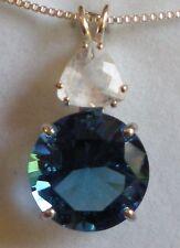 Tibetan Blue Obsidian Pendant with Pollucite j2536
