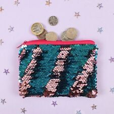 Reversible Sequin Purse Pink / blue Zip fastening Pouch 14.5 x 11cm New