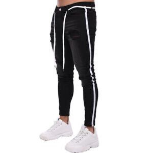 Mens Striped Ripped Skinny Jeans Trousers Stretch Slim Fit Denim Joggers Pants