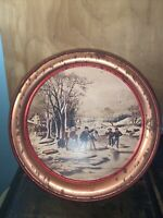 "Currier And Ives Collector Tin ""Winter pastime"" vintage Large size."