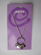 "dd 16"" O ring heart charms NECKLACE Claires silver tone chain jewelry"