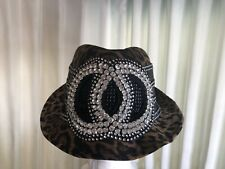 Small  Fedora Leopard Hat For Women With Rhinestone Crystal Circles