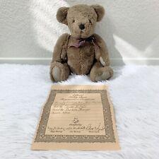 Vintage 80s Jointed Plush Handmade Brown Teddy Bear Eleanor Hall Certificate
