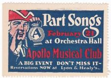 Poster stamp, Part Songs, Apollo Musical Club, Chicago, c. 1916, MNH