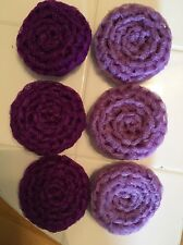 6 Purple (3 Lilac/lavender 3 Dark) NYLON NET POT SCRUBBIES