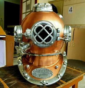 Vintage Copper Diving Helmet Antique Scuba U.S Navy Mark V Scuba Divers Helmet