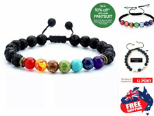 Adjustable Chakra Bracelet Healing Lava Stone 7 Bead Natural Oil Diffuser 1pc