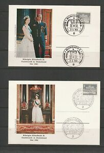 Germany, QE2 Royal Visit 1965, 6 cards, Different place cancels, Unaddressed, 2