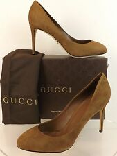 NIB GUCCI COCOA SUEDE GOLD INTERLOCKING JENNIFER CLASSIC PUMPS 40 10 $695