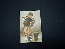 Victorian Christmas Trade Card, Young Girl Drum Pouring Milk A1