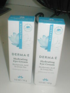lot of 2 - Derma E Hydrating Eye Cream Hyaluronic Acid & Green Tea 1/2 oz