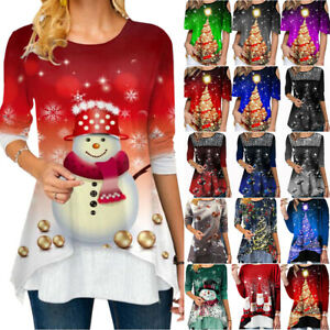 Womens Christmas Xmas Printed T-Shirt Loose Blouse Casual Tunic Tops Plus Size