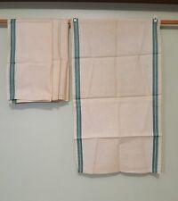 NWOT LOT OF 4 VINTAGE LINEN TEA KITCHEN DISH TOWELS GREEN TICKING STRIPES