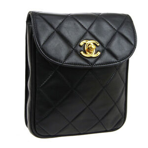 CHANEL Quilted CC Logos Waist Bum Bag Pouch 3471565 Purse Black Leather 03742