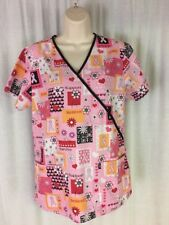 Scrub H.Q. Scrub Top Medical/Dental/Vet Size S Pink Breast Cancer Awareness