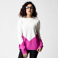 New ex ASOS Chunky Textured Jumper with Pink Chevron RRP £28 Sizes 2 - 18