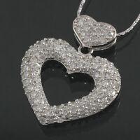 Herz Anhänger echt Silber 925 Sterlingsilber mit Zirkonia Ketteanhänger 3,1 cm