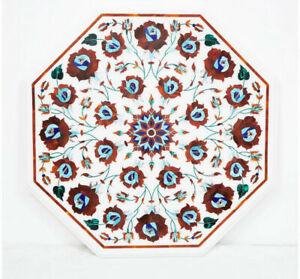 "30"" Marble Table Top Semi Precious Stones Floral inlay Handmade work"