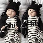 Rayure Nouveau-né Bébé Fille Garçon Vêtements Combinaison Barboteuse Tenues