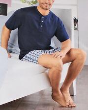 2 tlg. Herren SHORTY Gr.M L XL Schlafanzug Pyjama kurz blau/kariert NEU