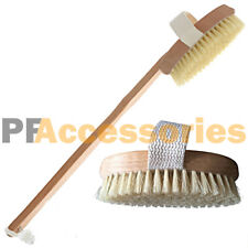 "15"" inch Spa Back Body Shower Bath Brush with Natural Wood Long Removable Handle"