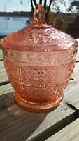 Vintage Pink Glass Sugar Bowl/ Candy Dish with Extra Lid