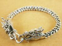 "New Oxidized Bali Style Dragons Scales 925 Sterling Silver Bracelet 7"" 27g"