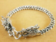 """New Oxidized Bali Style Dragons Scales 925 Sterling Silver Bracelet 7"""" 27g"""
