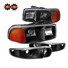 99-07 GMC Sierra Denali Yukon Black Housing Headlights +Turn Signal Crew Single