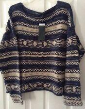 Ralph Lauren Women's Blue/Tan Long Sleeve Sweater XXL