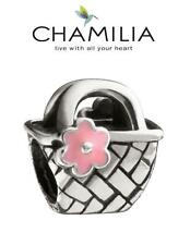 Genuine CHAMILIA 925 silver & enamel BEACH BASKET & flower charm bead, holiday