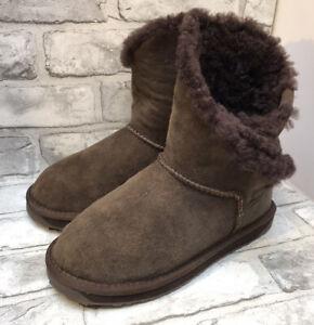 EMU LADIES BROWN SUEDE SHEEPSKIN ANKLE BOOTS SIZE 6 UK 39 EUR