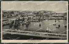 Cuxhaven Panorama nuovo porto di pesca ASTA Halle velieri mare del Nord 1908!!!