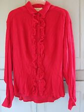 NEW Vintage 90s French Connection Red Ruffle New Romantic Blouse Small UK 10