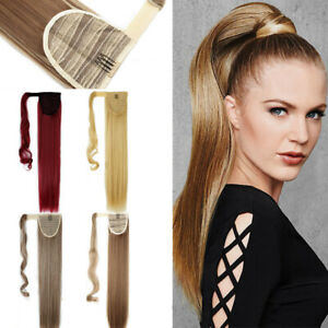 100% Human Hair Women New Wrap Around Ponytail Clip in Hair Extensions 15''-18''