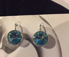 NEW made with SWAROVSKI CRYSTAL  ROUND AQUAMARINE BLUE SILVER PIERCED EARRINGS