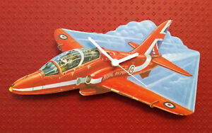 CHILDRENS RED JET FIGHTER PLANE CLOCK HAND MADE WOODEN CLOCK NURSERY WALL