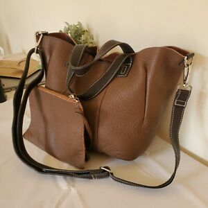 Autograph by M&S Real Leather Tote Shoulder Bag with Removable Pouch Brown