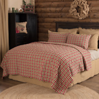 JONATHAN PLAID QUILT SET-choose size & accessories- Rustic Red/Green VHC Brands
