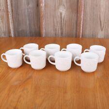 8 Gibson White Stoneware Coffee Tea Mug Raised Fruit Embossed